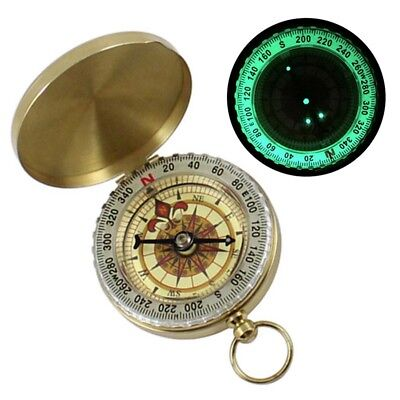 Vintage Brass Noctilucent Pocket Compass Hiking Camping Watch Retro Design