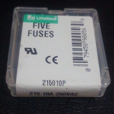 5x20mm Fuse Slo-Blow Time-Lag 10A 250VAC LittelFuse 215 Ceramic 0215010.VXP