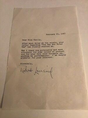 Robert Lansing Actor 12 O'Clock High TLS Signed Letter Re: Man Who Never Was '67