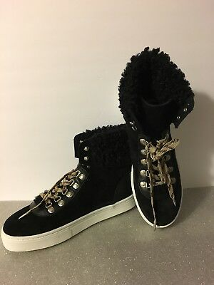 94793ff361ab SAM EDELMAN LUTHER Faux Shearling High Top Sneaker Black NWOB Sz 10M ...