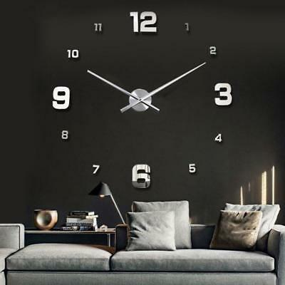 Modern DIY Large Numbers 3D Wall Clock Mirror Sticker House Decoration Silver NG
