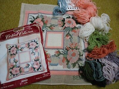 """SEMCO  """"Pink Rose Border"""" cushion front.. No 3050 3107.  Partly Done."""
