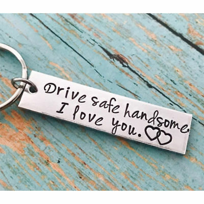 Keyring Stainless Steel Drive Safe Handsome I Love You Trucker Keychain Gifts US