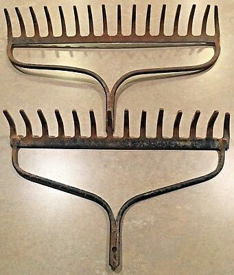 LOT of 2 Rustic Metal Rake Heads - 16 Tine / 14 Tine - Antique Vintage Farmhouse