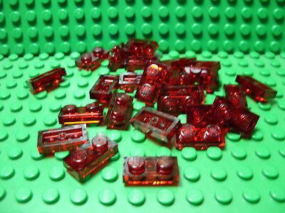 ** 25 CT LOT **  Lego NEW trans red 1 x 2 plate pieces   Lot of 25