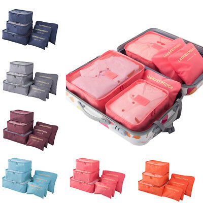 6 Pcs Travel Organizer Storage Clothes Luggage Packing Cubes & Laundry Bags W8xS