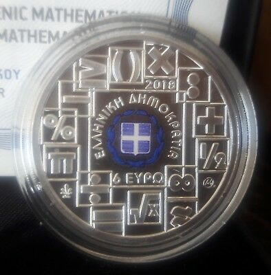 Best price New COLOR SILVER proof🅰️ GREECE 6 Euro 2018 🅰️100 YEARS MATHEMATICS