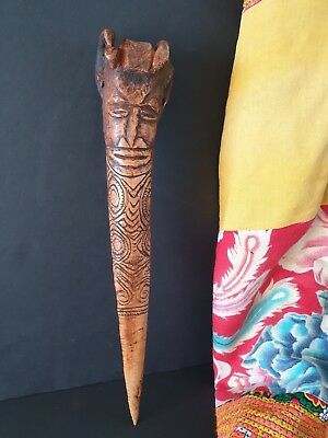 Old Papua New Guinea Abalem Carved Cassowary Bone Dagger …beautiful collection..