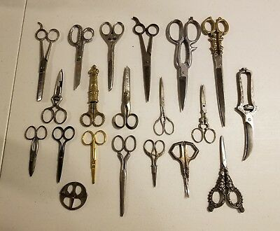 Antique/Vintage Lot (20) Scissors/Shears Some are Silver