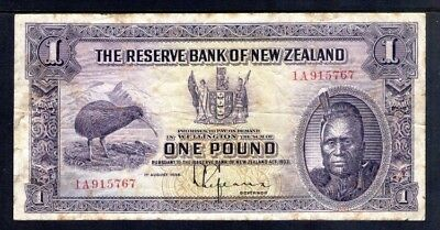 New Zealand 1934 One Pound Note VG. First Prefix