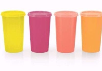 Tupperware Tumblers with lids Multi color- 330 ML/12 Oz - Set of 4 - New!