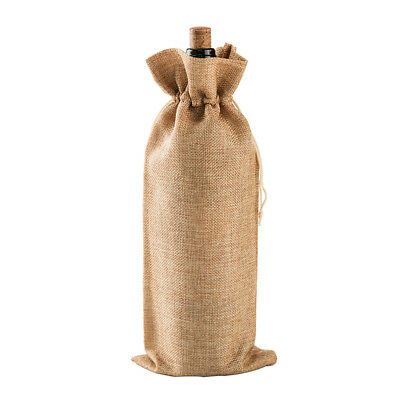 Simple Red Wine Bottle Cover Bag Drawstring Burlap Bag Packaging Table Ornaments