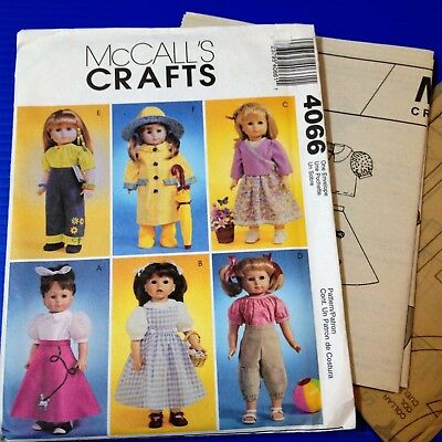 """McCALLS CRAFT4066 - 18"""" Dolls Clothes Patterns - New, Factory Folded, Uncut."""