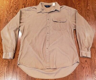 Vintage Woolrich Corduroy Button Up Long Sleeve Shirt Size Large Sand Tan Mens