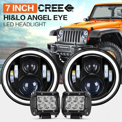 7inch Round LED Headlight Hi/Low Beam Halo Angle Eye For Jeep + Pair 4inch Spot