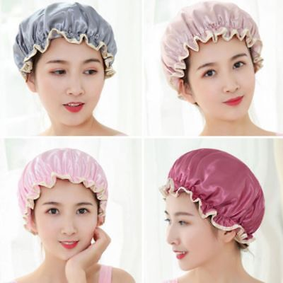 Thick Women Double Layers Waterproof Shower Cap Bathing Hair Hat Satin Cover