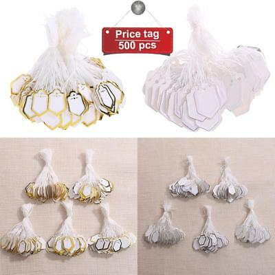 500x Paper String Price Tags White Label Jewellery Display Watch Price Swing Tag