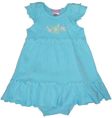 Size 0 - Bright Bots Baby Girls Dress with Romper, Pretty Print on Bodice | Blue