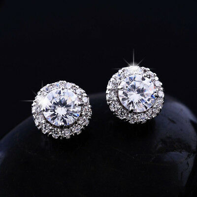 14K Real White Gold Filled Stud Earrings Made With 0.6 Carat Swarovsk Crystals