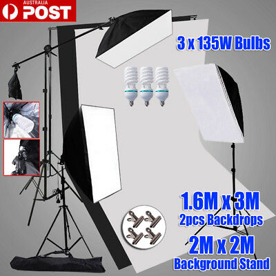 2025W Photography Softbox Continuous Lighting Boom Light Stand 2x Backdrops Kit