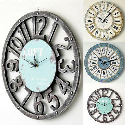 Vintage Wooden Wall Clock Large Retro Home Antique Style Decor Roman Numbers