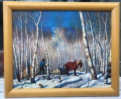 1950s CANADIAN / NORTH AMERICAN SCHOOL IMPRESSIONIST PAINTING signed ??