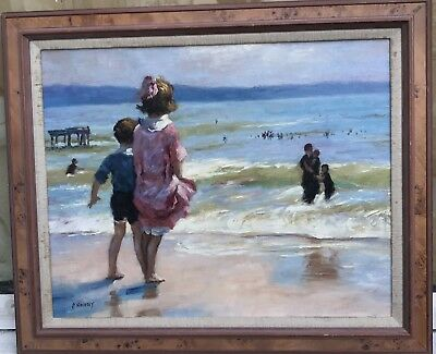1960s  impressionist oil painting of children on beach by Philip Naviasky - N/R