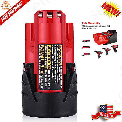 For Milwaukee 48-11-2420 M12 LITHIUM 2.5AH Compact Battery 48-11-2401,48-11-2402