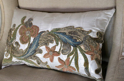 Antique Pillow 17th Century Metallic Silk Embroidery Rinceaux Floral Needlework