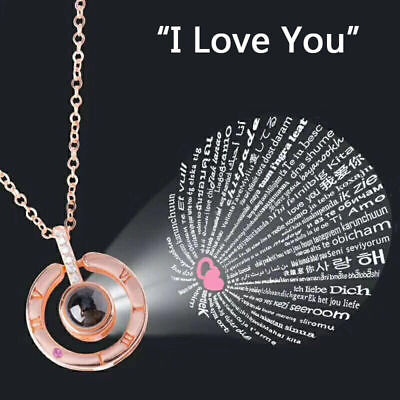 I Love You in 100 Languages Light Projection Pendant Necklace Women Jewelry Gold