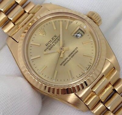 Ladies President Automatic Rolex Datejust 26mm 18ct Yellow Gold 1984 [6917]