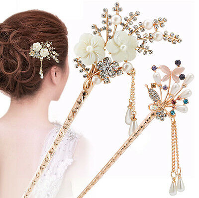 Retro Women Rhinestone Hair Stick Hairpin Hair Chopsticks Hair Accessories