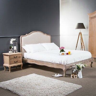 eGB55 - French Weathered Limed Ash Wooden Upholstered Linen Low Foot Board Bed