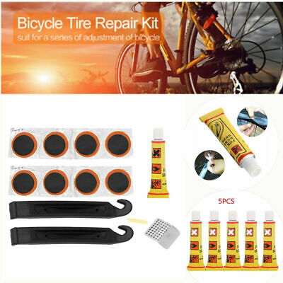 5 Pcs Bike Bicycle Tire Tyre Tube Patch Glue Rubber Cement Puncture Repair Tools