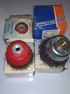 4 X Wire  Crimped Cup Brushes  75MM X 10 X 1.25 THREAD