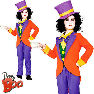Boys Mad Hatter Costume World Book Day Kids Childrens Fairytale Fancy Dress New