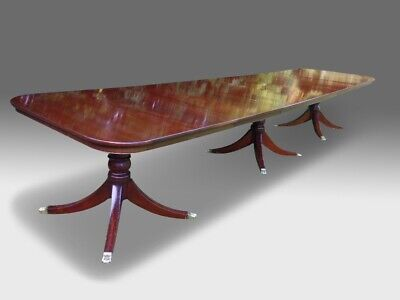 Magnificent 14ft triple pedestal Regency style Brazilian mahogany dining table