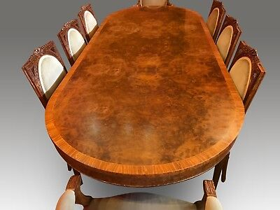 8.6ft BEAUTIFUL BURR WALNUT REGENCY STYLE DINING TABLE SET, PRO FRENCH POLISHED