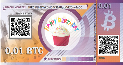 Prepaid birthday BITCOIN gift card  - 0.01 BTC