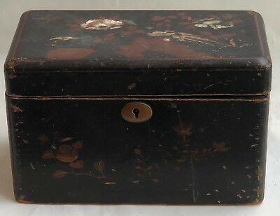 Antique Hinged Wood Box With Inserts Asian