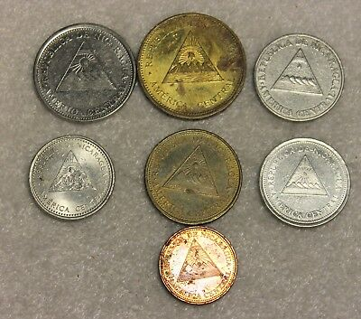 set of 7 different coins from Nicaragua