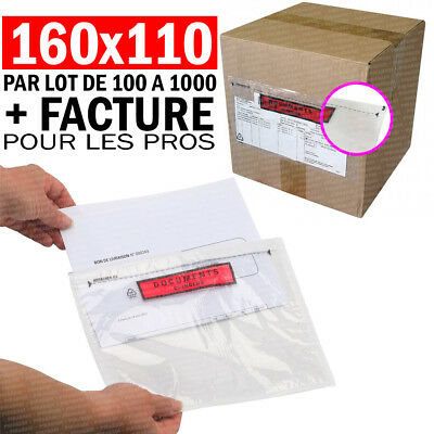 "POCHETTE PORTE DOCUMENT 160x110mm ADHESIVE D'EXPEDITION "" DOCUMENT CI-INCLUS """