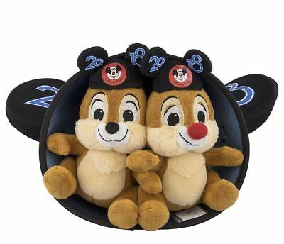 """Disney Parks 2018 Chip and Dale 6"""" Plush in Mickey Mouse Ear Hat New with Tag"""