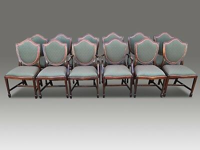 Stunning set 12 shield back style Mahogany Dining Chairs, Pro French polished