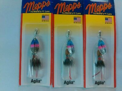 HFT B3ST BR LOT OF 6 MEPPS AGLIA SPINNERS SIZE 3 1//4 oz