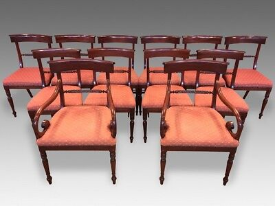 Stunning set 12 William IV style Mahogany Dining Chairs, Pro French polished