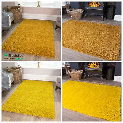 Soft Ochre Yellow Mustard Fluffy Shaggy Rugs Non Shed Living Room Shag Rugs