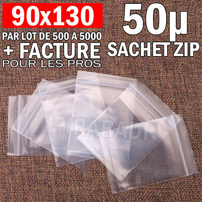 LOT SACHET ZIP PLASTIQUE 90x130MM TRANSPARENT 50µ FERMETURE BAG POCHON POCHETTE