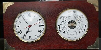 WEATHERMASTER Clock Thermometer Set Wooden Plinth