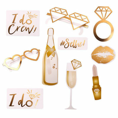 10pcs Gold Wedding Party Photo Booth Props Game Team Bride Hen Do Night Selfie